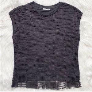 Zara Layered Crochet Knit Charcoal Gray Top
